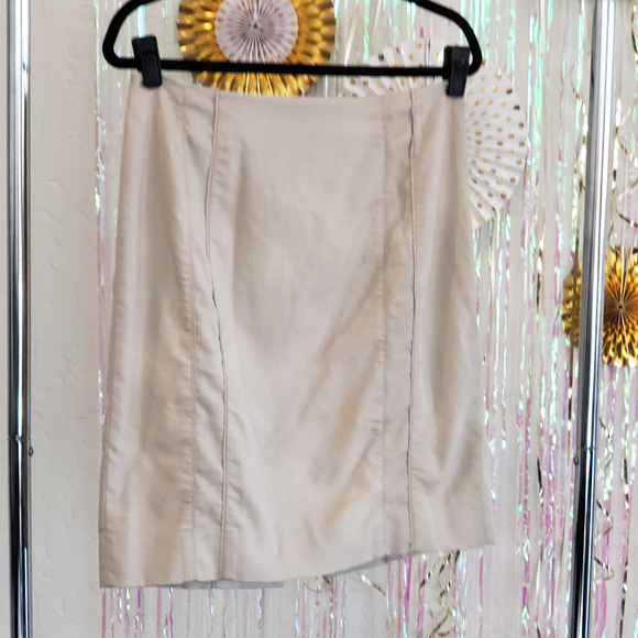 White House Black Market Dresses & Skirts - Khaki tan cream midi pencil skirt, 8